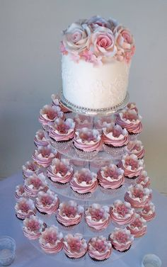 Stunning! pink rose cupcake tower