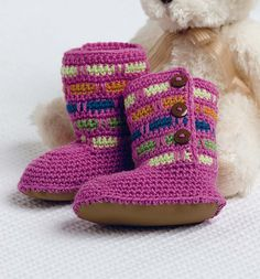 Ravelry: Popsicle Boots pattern by Robyn Chachula. Published in Baby Blueprint Crochet.