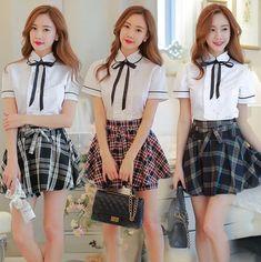 """Color:+white+shirt+++black+white+plaid.+white+shirt+++black+red+plaid.+white+shirt+++navy+blue+brown+plaid.  Size:S.M.L.XL.XXL.XXXL.  Size+S: Clothes+length:53+cm/20.67"""".+Bust:80+cm/31.20"""".+Shoulder+width:35+cm/13.65"""".+Skirt+length:36+cm/14.04"""".+Waist:66+cm/25.74"""".  Size+M: Clothes+length..."""