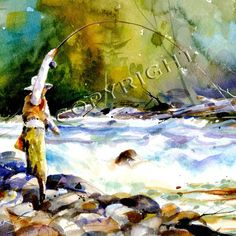 HOOKUP BELOW THE RAPIDS high quality giclee print from original watercolor painting by Dean Crouser (original has been sold). This scene depicts