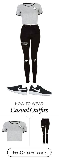 """""""casual"""" by aleydasanchez on Polyvore featuring NIKE, WithChic and Topshop"""
