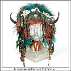 Wild Thing... Huge Feather Headdress in Aqua by BubblesAndFrown, $906.66