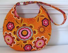 Round Hobo Bag Purse Shoulderbag in Cotton Orange by jpleasant, $32.00