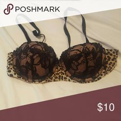 "Victoria's Secret ""Love"" collection balconete bra. !!MOVING SALE!! Black lacey cups with cheetah print band. Very fun, used but still have a lot of wear left. Victoria's Secret Intimates & Sleepwear Bras"