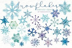 Watercolor Clip Art - Snowflakes - Illustrations