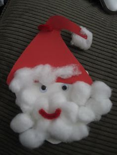 : Cotton ball Santa for Christmas Christmas Crafts For Toddlers, Preschool Christmas, Toddler Christmas, Christmas Activities, Toddler Crafts, Christmas Projects, Winter Christmas, Christmas Themes, Holiday Crafts