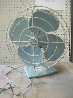 "Antique Vintage Old Pretty Blue Metal FAN 14"" 2 spd Electric Oscillating ~ GE | eBay"