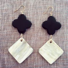 $65 - Black Onyx Quatrefoil & Cream Horn Earrings.  www.meredithjackson.com