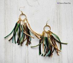 Fringe statement necklace in green brown and gold. Bohemian
