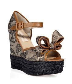 Sand/Black Lace Wedge Sandals... http://ladiesstylish.com/designers/valentino/shoes.html