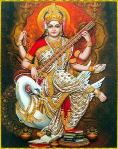 Saraswati with veena seated on her swan Saraswati Mata, Saraswati Goddess, Mother Goddess, Goddess Art, Goddess Lakshmi, Lord Saraswati, Shiva Art, Shiva Shakti, Krishna Art