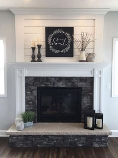 Farmhouse Fireplace Mantels, Home Fireplace, Fireplace Remodel, Modern Fireplace, Living Room With Fireplace, Fireplace Surrounds, Fireplace Design, Farmhouse Decor, Modern Farmhouse