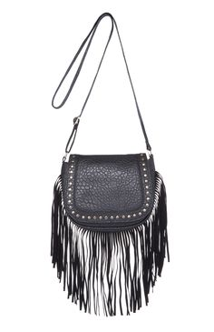 Black Studded Fringe Saddle Bag