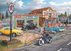 "Crossroads Jigsaw Puzzle:  Take a stroll down memory lane and reminisce as you put together this jigsaw puzzle! Precision cut from heavy-duty blue board, this 1,000-piece puzzle features a highly detailed image of main street USA, complete with classic cars, a motorcycle, service station, and much more. Finished puzzle measures 26 5/8"" x 19 1/4"". Made in the USA."