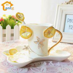 Enamel porcelain coffee cups and saucers teaspoons of creative gift,Bone China cups morning glory valentine's day gift-in Mugs from Home & Garden on Aliexpress.com   Alibaba Group