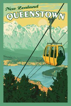Vintage Travel Queenstown New Zealand Vintage Travel Poster - Queenstown New Zealand, Photo Vintage, Vintage Ski, Tourism Poster, Travel Logo, New Zealand Travel, Art Graphique, Vintage Travel Posters, Travel Photos