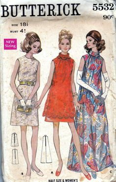 60s Vintage Sewing Pattern Butterick 5532 Plus Size High Collar Dress
