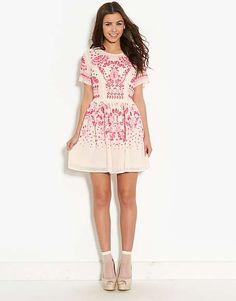 Pink Soda Caviar Beaded Skater Dress | BANK Fashion