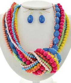 Multi Color Acrylic Multi Strand Knot Necklace