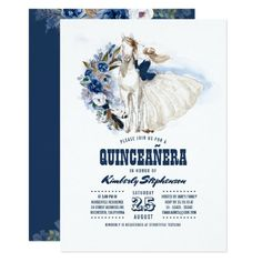 Navy Blue Western Quinceañera - 15th Birthday Invitation Western Invitations, Zazzle Invitations, Quinceanera Invitations, Birthday Party Invitations, Cowboy Birthday Party, 15th Birthday, Happy Birthday, Graduation Announcements, Top Gifts