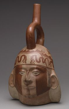 Portrait Head Bottle, 5th–6th century Peru; Moche