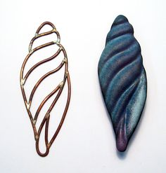 Carol Holaday - wire die used to form metal - next to it is the brooch I formed in copper and then enameled.