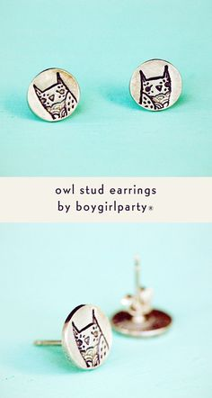 Sterling silver owl earrings featuring the trademark owl of artist Susie Ghahremani / boygirlparty  (Source: http://shop.boygirlparty.com) #owl #earrings #jewelry