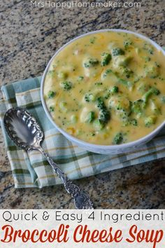 & Easy 4 Ingredient Broccoli Cheese Soup Quick & Easy 4 Ingredient Broccoli Cheese Soup Recipe on Yummly. & Easy 4 Ingredient Broccoli Cheese Soup Recipe on Yummly. Cheese Soup Recipe Easy, Easy Soup Recipes, Cooking Recipes, Healthy Recipes, Broccoli Soup Recipes, Easy Recipes For Two, Easy Crockpot Soup, Broccoli And Cheese, Fresh Broccoli