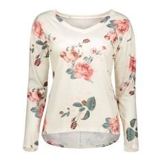 12.34$  Buy now - http://di4ue.justgood.pw/go.php?t=201344702 - V Neck Long Sleeve Floral T-Shirt