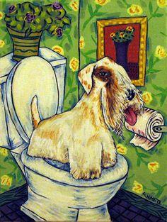 sealyham terrier dog art  4x6   bathroom  abstract folk GLOSSY PRINT #modern