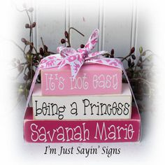 It's Not Easy Being A Princess Personalized Itty Bitty Wood Blocks Sign. $11.45, via Etsy.
