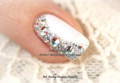 Gelish Wedding Manicure with Swarovski crystals www.funkyfingersf… Gelish Wedding Manicure with Swarovski crystals www. Fancy Nails, Bling Nails, Love Nails, How To Do Nails, Pretty Nails, My Nails, Bling Bling, Glitter Nails, Rhinestone Nails