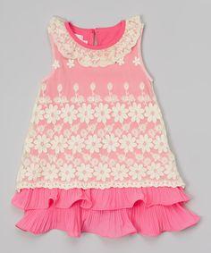 Hot Pink & White Lace Ruffle Dress #zulily *so pretty