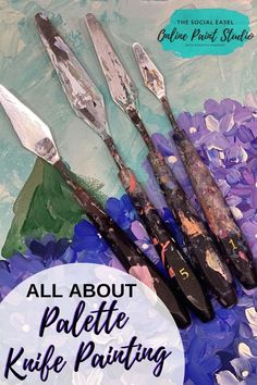 Learn to Paint with a Palette Knife! The Social Easel Online Paint Studio Easy Acrylic Painting - Meryl Birchill Art Lessons, Abstract Painting Acrylic, Spring Painting, Online Painting, Acrylic Painting For Beginners, Painting Studio, Painting Lessons, Simple Acrylic Paintings, Acrylic Painting Canvas