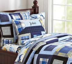 Plaid quilt with Batman sheets - Pottery Barn Kids - $180 for quilt
