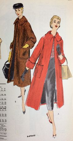 A page from an October 1956 Vogue Patterns catalog. #vintagesewing #vintagepatterns