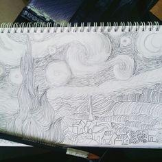 Semana #1 - ONE-LINE: Doodle #1  Recreación de Starry Night de Van Gogh en one-line. Probablemente habría quedado mejor definida cada parte utilizando lápices de distintas graduaciones pero al ser un one-line, sólo utilicé uno pero usando distintas presiones.