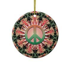 #giftideas   Coral Green Flower Circle Keepsake Peace Sign ceramic ornament #customizable