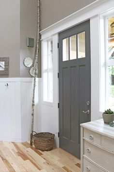*Front Door Color* painted in Kendall Charcoal from Benjamin Moore. The Inspired Room. Click for interior color
