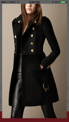 I Love it!~~ Black, long coat with gold
