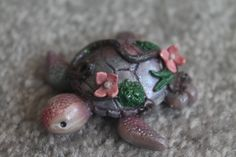 Pink Purple Gradient Floral Polymer Clay Sea Turtle by ThaiIcedTeaStudio on Etsy