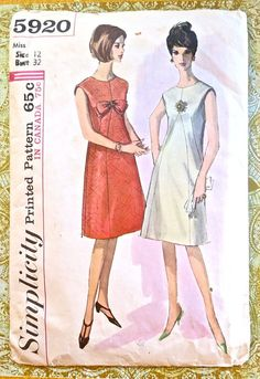 Simplicity 5920 Vintage 1960s Womens A Line Dress by Fragolina, $7.00