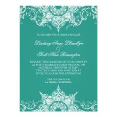 Shop Toile Damask Swirl Wedding Invite Teal Green created by AudreyJeanne. Personalize it with photos & text or purchase as is! Teal Wedding Invitations, Reception Invitations, Affordable Wedding Invitations, Beautiful Wedding Invitations, Wedding Programs, Damask Wedding, Sophisticated Wedding, Wedding Matches, Toile