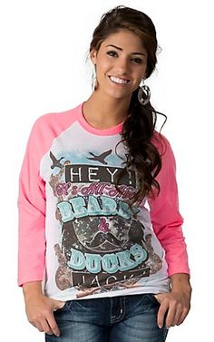 Rebel Rose® Womens White Hey Its All About Beards & Ducks Jack with Pink 3/4 Sleeves Baseball Tee