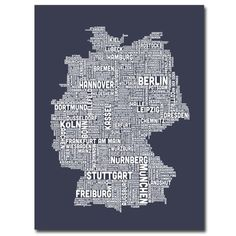 Trademark Fine Art Germany City Map II by Michael Tompsett Canvas Wall Art 35x47Inch ** More info could be found at the image url.