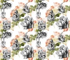 Alice in Wonderland Pink Roses fabric by 13moons_design on Spoonflower - custom fabric