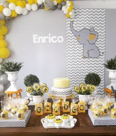 baby shower decorations 477451997997297131 - Baby Shower Boy Ideas Elephant Yellow 46 Ideas Source by shadikhakpour Elephant Party, Elephant Theme, Elephant Baby Showers, Baby Elephant, Baby Shower Themes Neutral, Baby Shower Yellow, Baby Boy Shower, Baby Tea, Baby Shawer