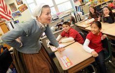 Plimoth Plantation portrays Pilgrim woman in entertaining classroom visit