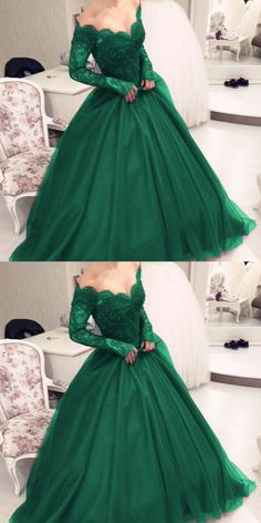 Illusion Scoop Neckline Lace Long Sleeves Emerald Green Prom Dresses 2018,Ball Gowns Quinceanera Dresses #longpromdresses