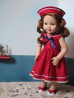 American Girl Doll Clothes 18 Inch Doll Red by RainbowLilyDesigns